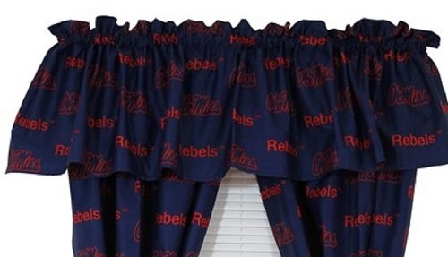 Ole Miss Rebels (3) Piece QUEEN Size Reversible Comforter Set & 2 Curtain Valances - Includes: (1) QUEEN Reversible Comforter, (2) Shams and (2) Window Curtain Valances