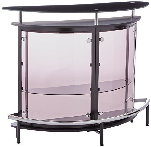 Bar Unit with Acrylic Front Black, Chrome and Smoke