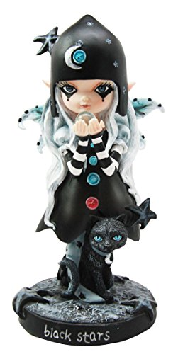 Ebros Dolly Fae Black Stars And Celestial Moon Fairy With Mystical Cat Figurine Selina Fenech Art Fantasy Collectible Decor Sculpture