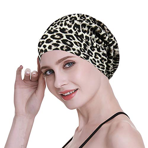 Wrap Hair Your - Silky Satin Slouchy Cap Smooth Sleep Headwear Night Public Curly Hair Headcover Frizzy Hat Brown Leopard