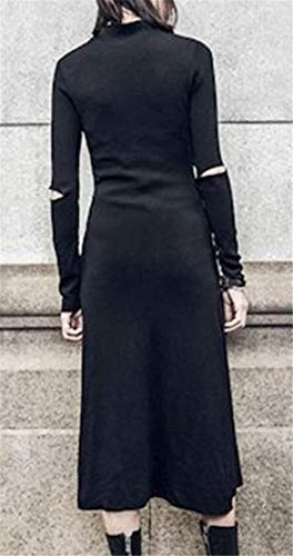 Long Slim Split Womens High Domple Distressed Victorian Gothic Ripped Dress Black 8nCSg