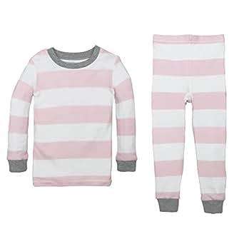 Burt's Bees Baby Unisex Baby Little Kid Pajamas, 2-Piece PJ Set, 100% Organic Cotton (12 Mo-7 Yrs), Blossom Rugby Stripe, 2T