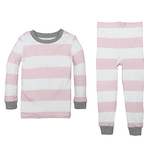 Burt's Bees Baby Unisex Baby Little Kid Pajamas, 2-Piece PJ Set, 100% Organic Cotton (12 Mo-7 Yrs), Blossom Rugby Stripe 2T