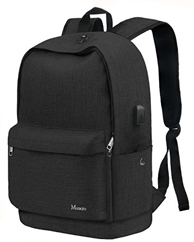 School Backpack, College Middle High Student Anti-Theft Laptop Backpack for Boy Girl Men Women, Mancro Water Resistant Tarvel Computer Bag with USB Charging Port, Fit 15.6 inch Notebook,Black ()