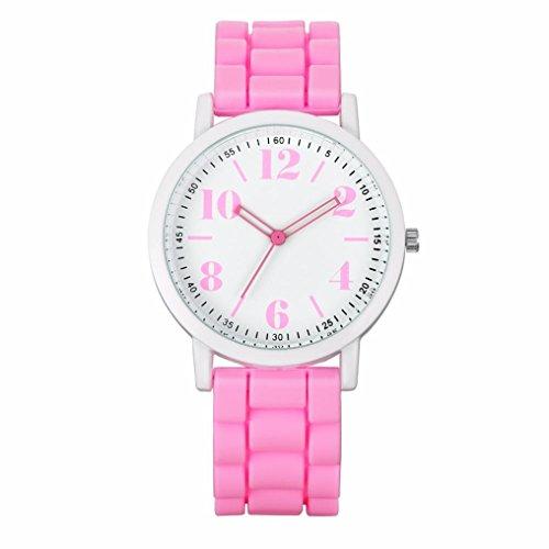 GOTD Ladies Womens Watches Analog Silica Jelly Gel Quartz Sports Wrist Watch Gift (Pink )