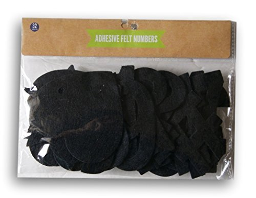 - Black Felt Cutout Adhesive Numbers Set - 32 Count