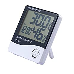 Multi-function Digital Alarm Clock Built-in Hourly Chime Function Bedside Desktop Electronic Clock Displaying Time Temperature Humidity & Alarm Best Holiday Gift HS44(black backlight)