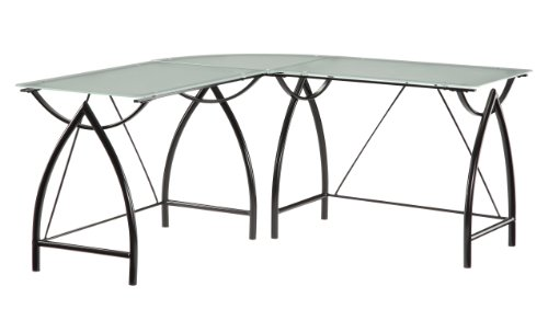 Office Star Newport L-Shaped Computer Desk with Frosted Tempered Glass Top and Black Powder Coated Steel Frame