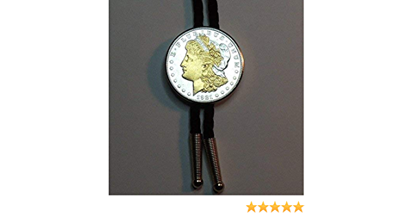 with Gold Date coin Bolo Ties for Men boys for kids Gold on Silver Silver dollar Gorgeously 2-Toned Old 1921 U.S Uniquely Hand done