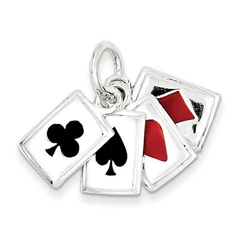 Argent 925/1000-Émail-JewelryWeb-cartes à jouer