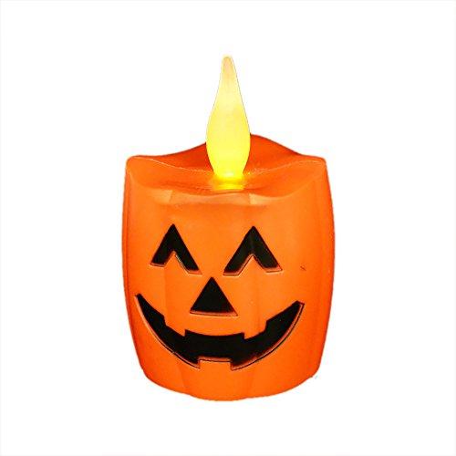 IREALIST LED Halloween Pumpkins Lights,Wavy Flickring Flameless Pumpkin lights, Battery Operated Halloween LED Pumpkin Candles,Pack of 4 PCS (Pumpkin) (Candles For Halloween)
