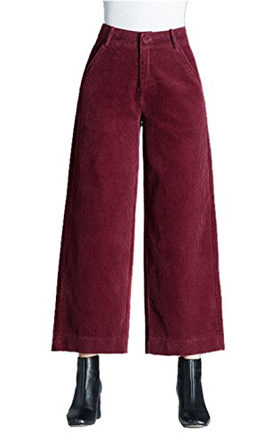 - Gihuo Women's Retro Wide Leg Casual Corduroy Pant with Pockets (Wine, Large)