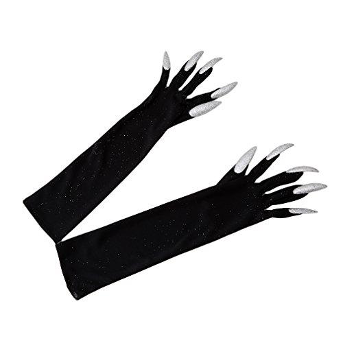 Myhouse Black Long Fingernail Gloves Halloween Costume Gloves Cosplay Prop for -