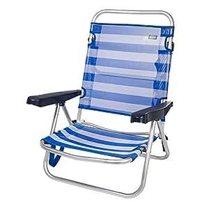 Aktive 53954 Silla Plegable multiposición Aluminio Beach, 108 x 60 x 78 cm, Azul Oscuro