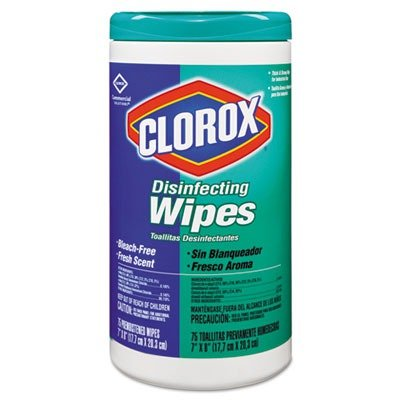 Cloroxamp;reg; - Fresh Scent Disinfecting Wet Wipes, Cloth, 7 x 8, 75/Canister, 6/Carton - Sold As 1 Carton - Bleach-free, premoistened wipes clean and disinfect in one step; kill 99.9% of bacteria, including staph and salmonella.