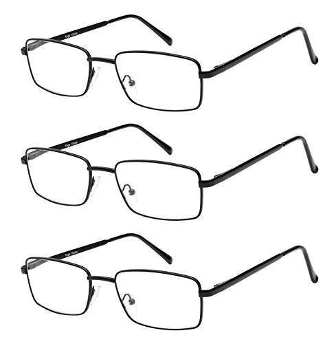 Reading Glasses Set of 3 Metal Full Rim Glasses for reading for Men and Women +1.75 (Glass A Rim Of)