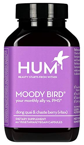 HUM Moody Bird - Women's Monthly Support Supplement with Dong Quai & Chaste Berry (60 Vegan Capsules)