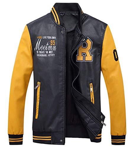 Velluto Giacca Caldo Ragazzo Biker Con Plus Gelb Eco Cerniera pelle Pelle Uomo Vintage Da Rm Invernale In Cappotto frw0qf