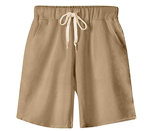 VtuAOL Women's Casual Elastic Waist Knee Length Bermuda Shorts with Drawstring Khaki Asian 6XL/US XL
