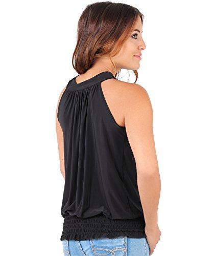KRISP Top Mujer Fiesta Vestir Elegante Ancho Blusa Camiseta Negro (7571)