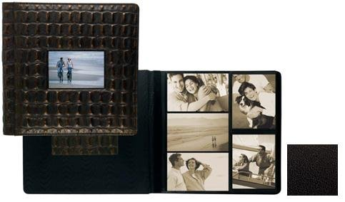 TOPNOTCH BLACK fine-grain leather #113 window album with 5-at-a-time pages by Raika® - 4x6 by Raika®
