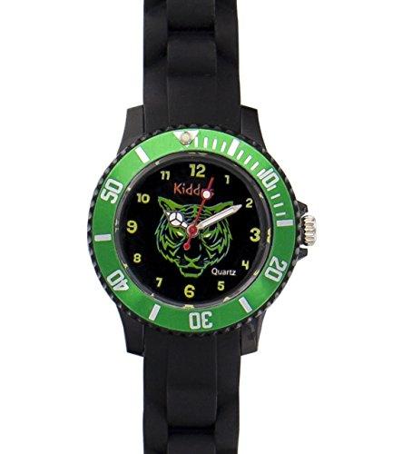 Kinder Armband Uhr für Junge mit grüne Tiger, Silikonarmband, wasserdicht (5 ATM), hohe Qualität Quarz Mechanismus Seiko, Batterie Sony, in Geschenk-Box, Kiddus KI10109