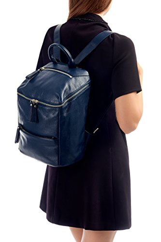 Jinne Opening Navy Backpack Top Di Zip Square Unisex Soft Leather Montte XRq5vnwWx