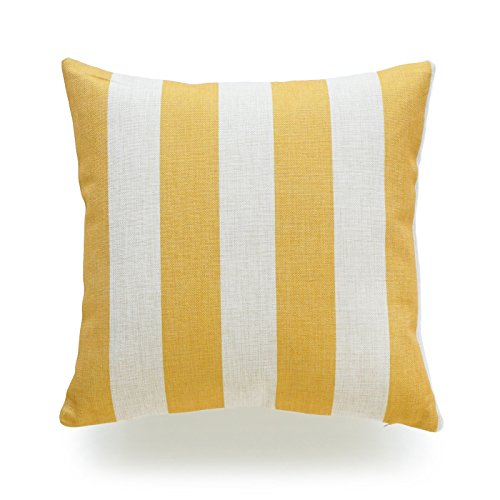 Hofdeco Throw Pillow Case Mustard Yellow Striped HEAVY WEIGHT FABRIC