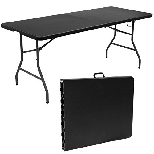 Custpromo 6' Folding Picnic Party Dining Portable Work Table, Fold In Half, Outdoor and Indoor Use (black) by Custpromo