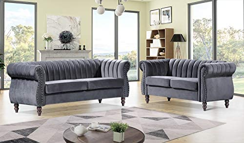 Container Furniture Direct Quinones Modern Nailhead Trim Channel Tufted Chesterfield Rolled Arms, Loveseat & Sofa, Silverish Grey