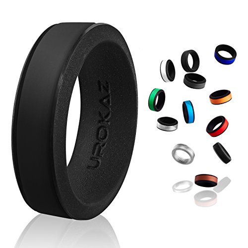 UROKAZ Silicone Wedding RingBlack BlackSize 9 Inner Diameter ~ 18.95 mm ()