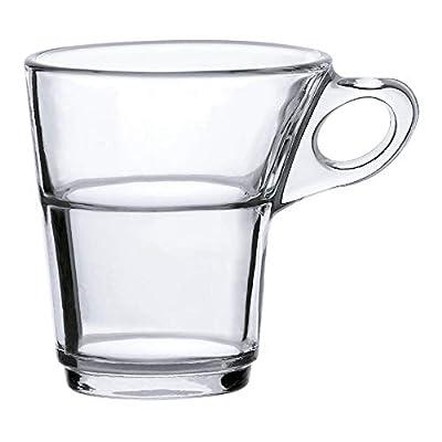 Duralex Made In France Caprice Glass Mug (Set of 6), 3.12 oz, Clear