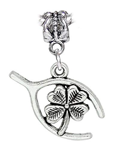 4 Leaf Clover Wishbone Lucky Four Luck Dangle Charm for European Slide Bracelets Jewelry Making Supply by Wholesale Charms