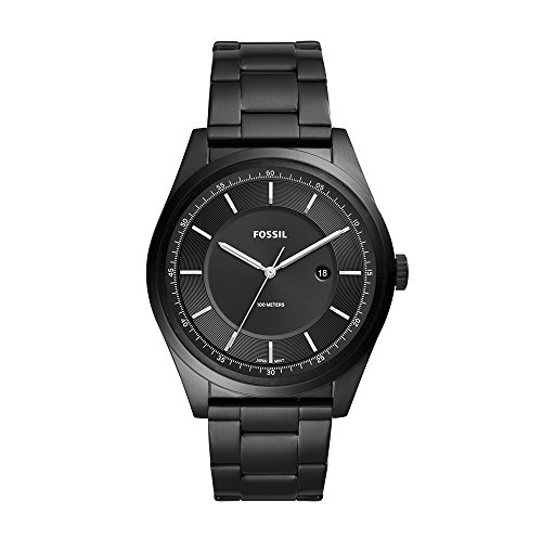 10 Atm Date Watch - Fossil Men's 'Mathis' Quartz Stainless Steel Casual Watch, Color:Black (Model: FS5425)