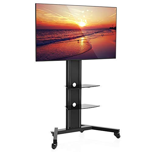 Fenge Mobile Carts Stand for 70 Inch Screen Glass Shelf and Locking Caster Wheels. Black