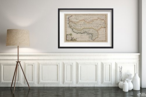 1700-1799 Map London A Correct Map Negroland Guinea Rollos, G, fl. 1754-1789 (Author)|Vintage Fine Art Reproduction|Ready to Frame