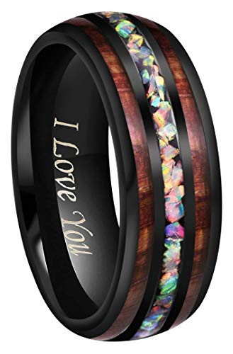 (CROWNAL 4mm 8mm Handmade Genuine Crushed Fire Opal Balck Tungsten Carbide Men Women Wedding Band with Koa Wood Inlay Engraved I Love You Size 7 to 17 (8mm,10))