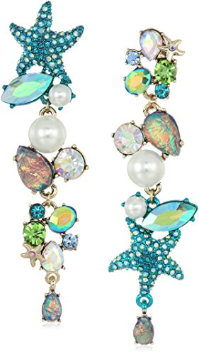 Betsey Johnson Women's Crabby Couture Seashell and Stone Mismatch Drop Earrings, Blue, One - Cluster Shell Earrings