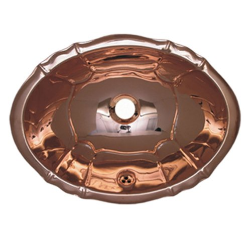 Whitehaus WH612CBL-PCO Fluted Design Drop-In Basin with Overflow, Polished Copper by Whitehaus