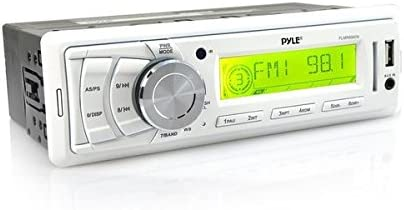 PLMR87WB New Marine Boat AM FM SD USB MP3 AUX Weather band Radio 2 Pyle Speakers