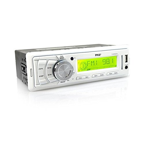 Pyle PLMR89WW Marine Stereo Radio Headunit Receiver, Aux (3.5mm) MP3 Input, USB Flash & SD Card Readers, Remote Control, Single DIN (White)