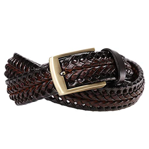 Tanpie Men's Braided Belt Leather Woven Fashion Strap for Jeans Brown ()