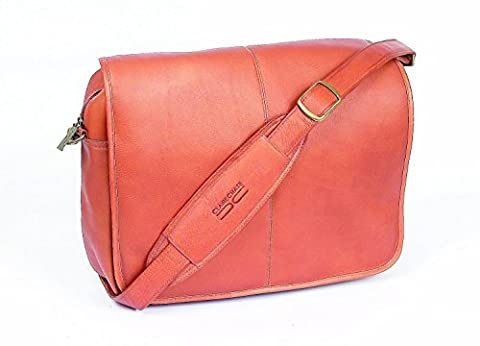 Claire Chase Luxury Leather Laptop Messenger Bag, Computer Briefcase in Saddle - Claire Chase Leather Messenger