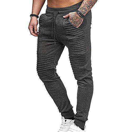 Hellomiko Pantalones de Moto arrugados para Hombre Lavados con Agua Aprieta pies Pantalones de Jeans con Elasticidad Pierna Recta Delgada Raya Recta Plisada Gris