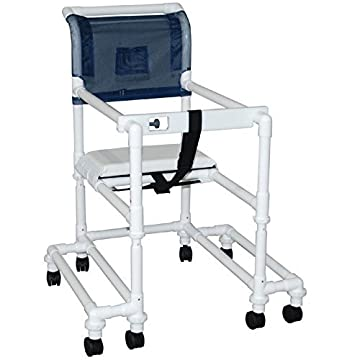 "MJM International 118-3TW-DDA-SF-SSDE Standard Shower Chair with Drop Arms, Slide Out Footrest and Soft Seat, 300 oz Capacity, 40.5"" Height x 22"" Width x 25.25"" Depth, Royal Blue/Forest Green/Mauve"