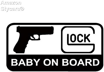 Stycars 15 7cm 7 9cm Glock Baby On Board Character Decoration Of Automotive Vinyl Sticker Decals Black Auto