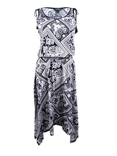 LAUREN RALPH LAUREN Womens Printed Sleeveless Maxi Dress B/W L Black/White