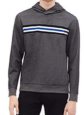 Calvin Klein Charcoal Mens Large Hooded Pullover Sweater Gray L