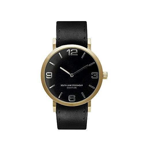 South Lane 'SIGNATURE GOLD' Quartz Stainless Steel and Leather Casual Watch, Color:Black (Model: 659436314597) by South Lane