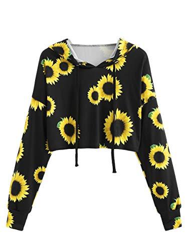 ROMWE Women's Long Sleeve Hooded Floral Print Crop Hoodie Sweatshirt Black S (Sunflower Print)